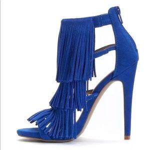 Blue fringe heel
